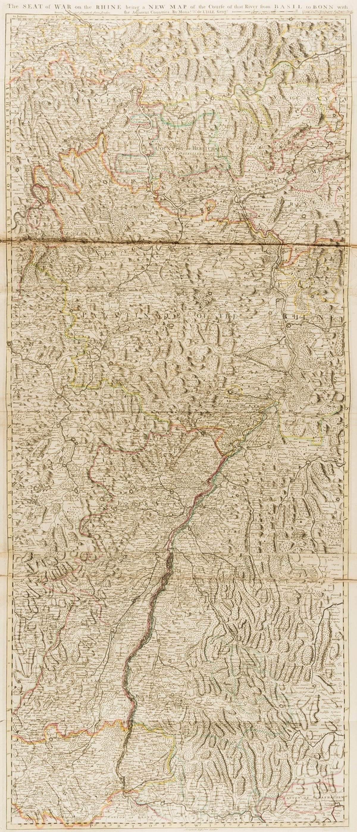 Europe.- The Rhine.- De L'Isle (Guillaume) The Seat of War on the Rhine being a New Map of the …