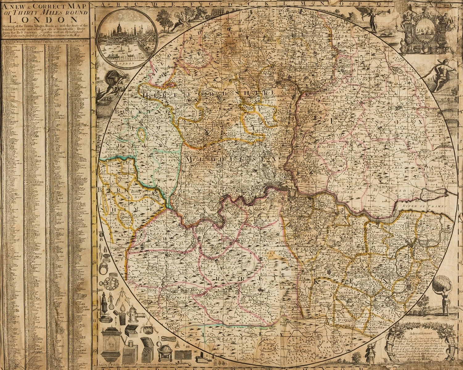 London.- Willdey (George) A New & Correct Map of Thirty Miles Round London, [c. 1720].