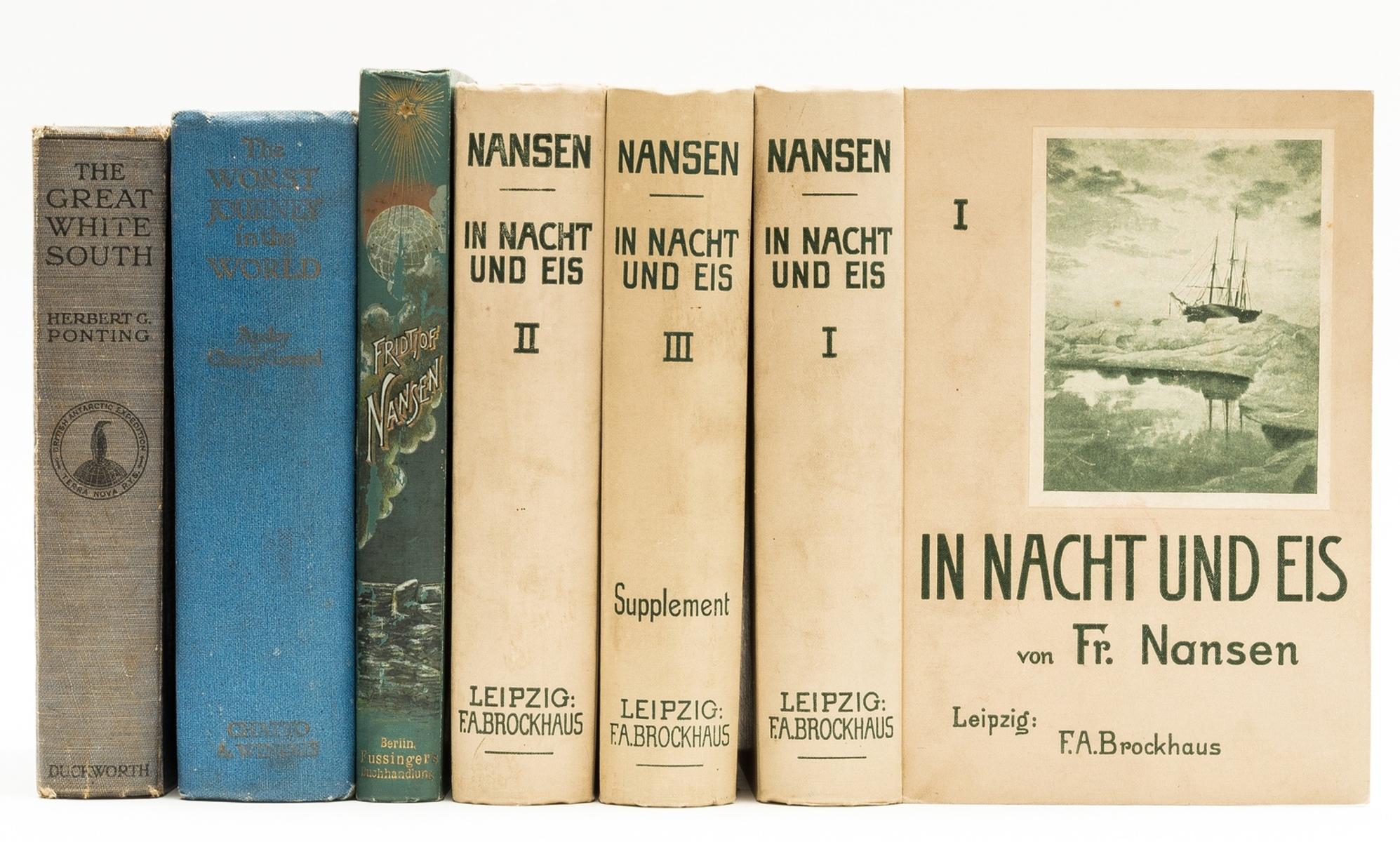 Polar.- Nansen (Fridtjof) In Nacht und Eis, 3 vol., 1898; and 3 others, polar exploration (3)