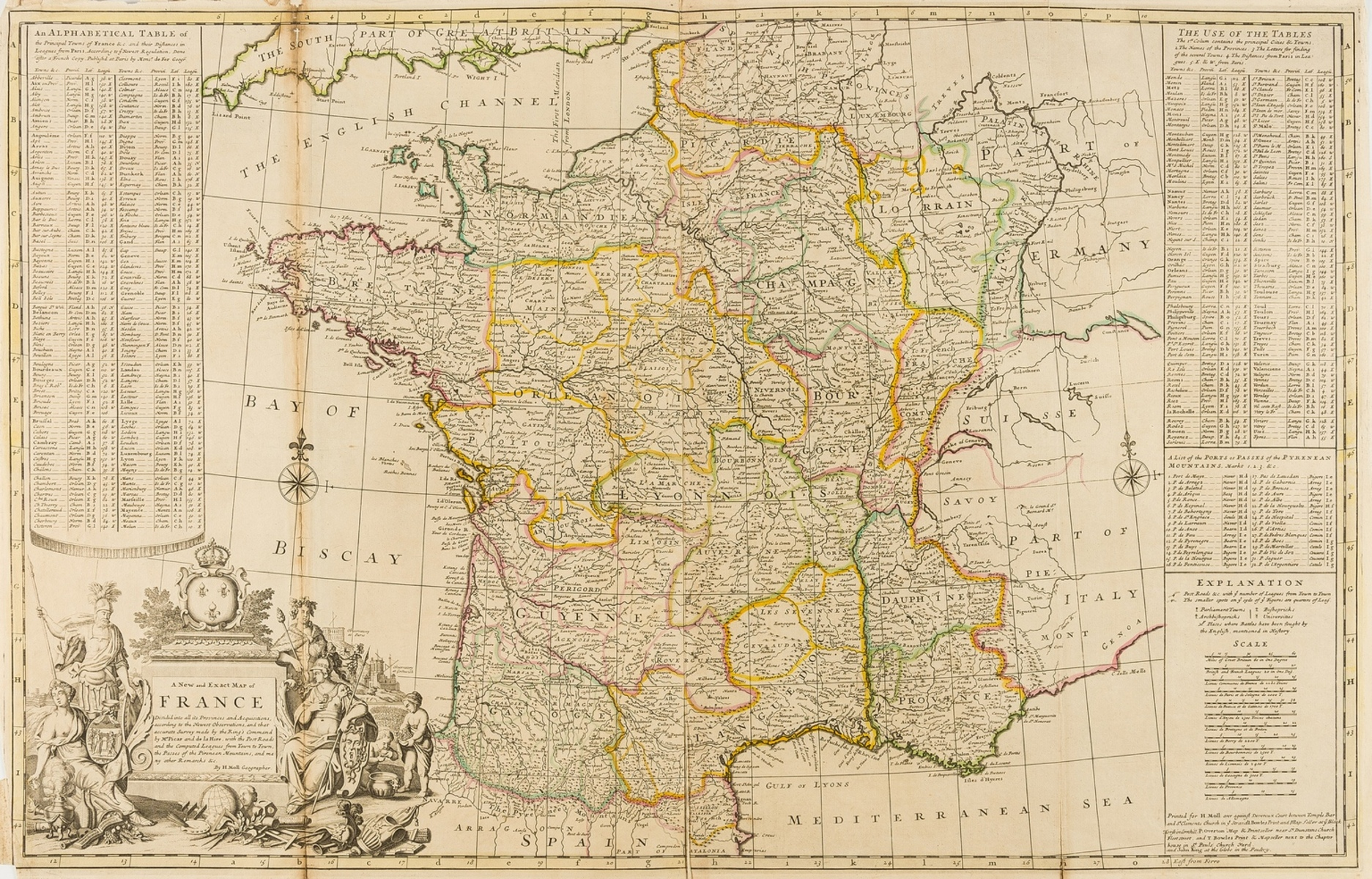 France.- Moll (Herman) A New and Exact Map of France Divided into all its Provinces and …