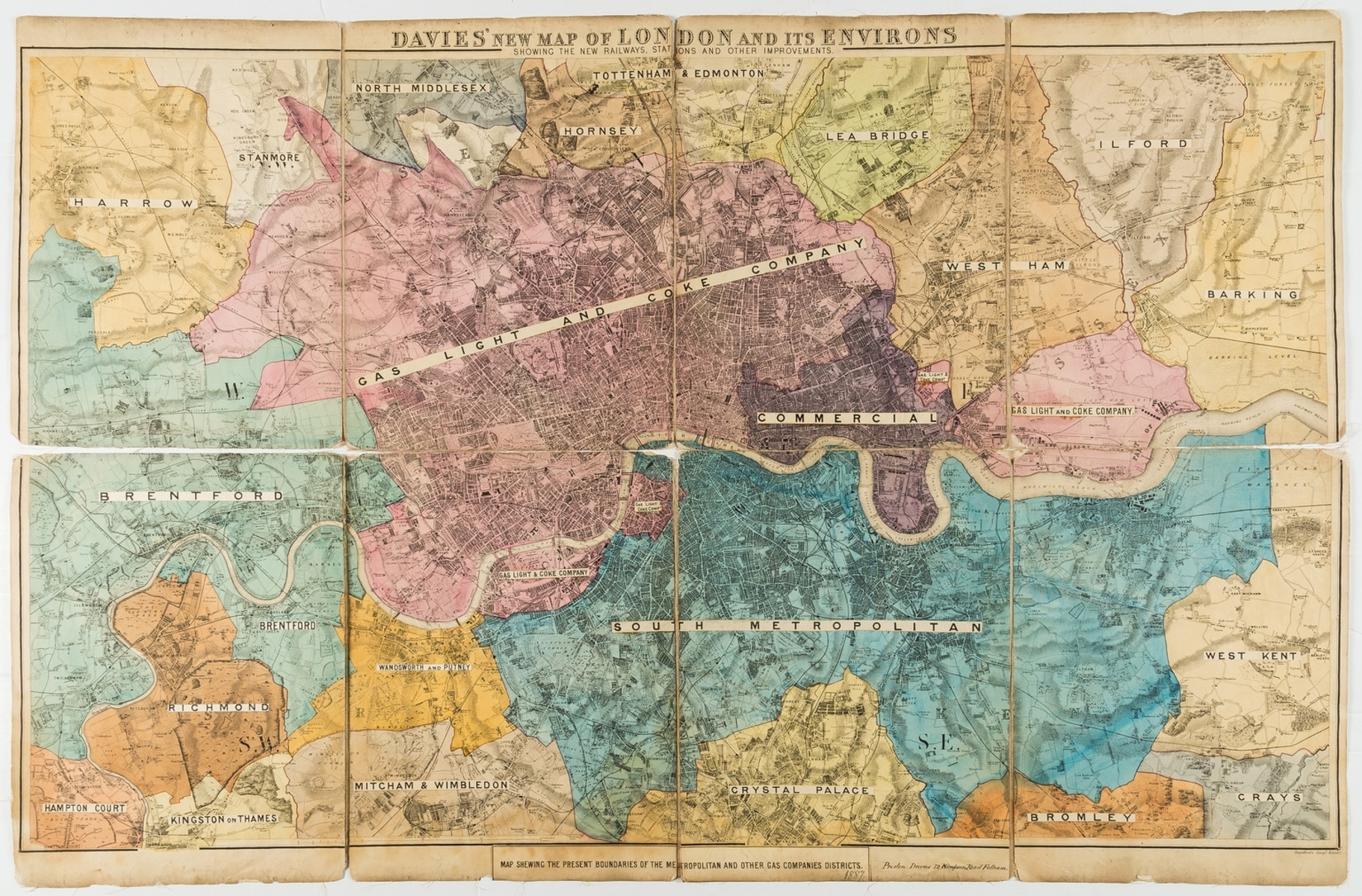 London.- Davies (Benjamin Rees) Davies' New Map of London and its Environs showing the New …