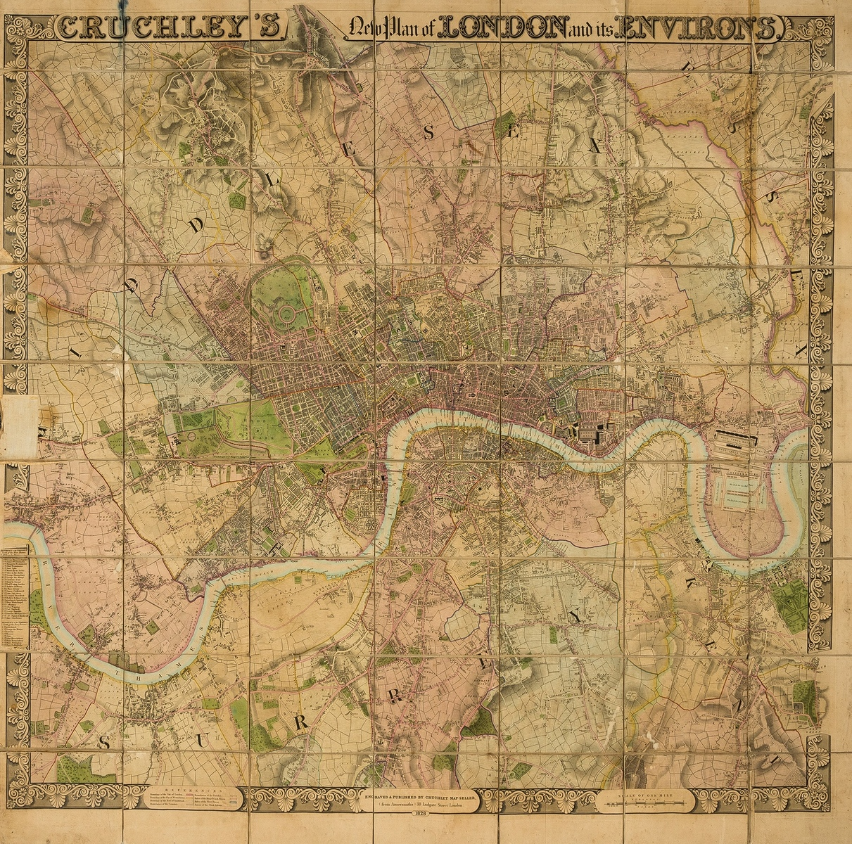 London.- Cruchley (George Frederick) Cruchley's New Plan of London and its Environs, 1828.
