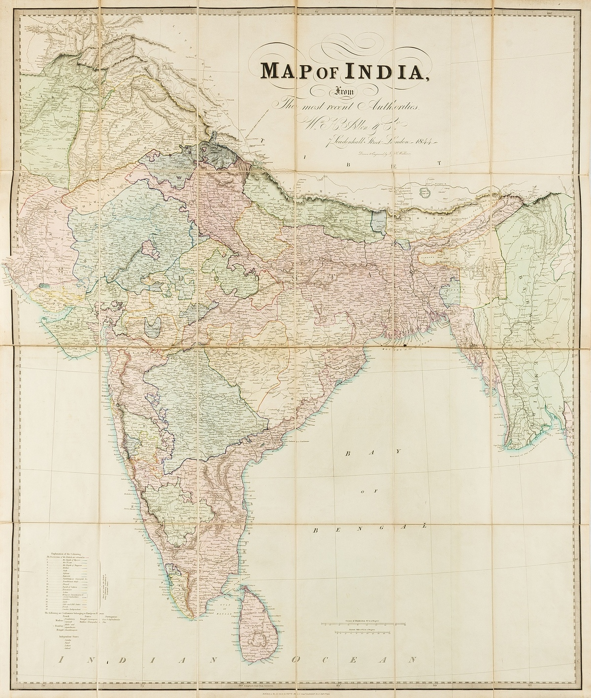 India.- Allen & Co. (William H.) Map of India, from the most recent Authorities, 1844.