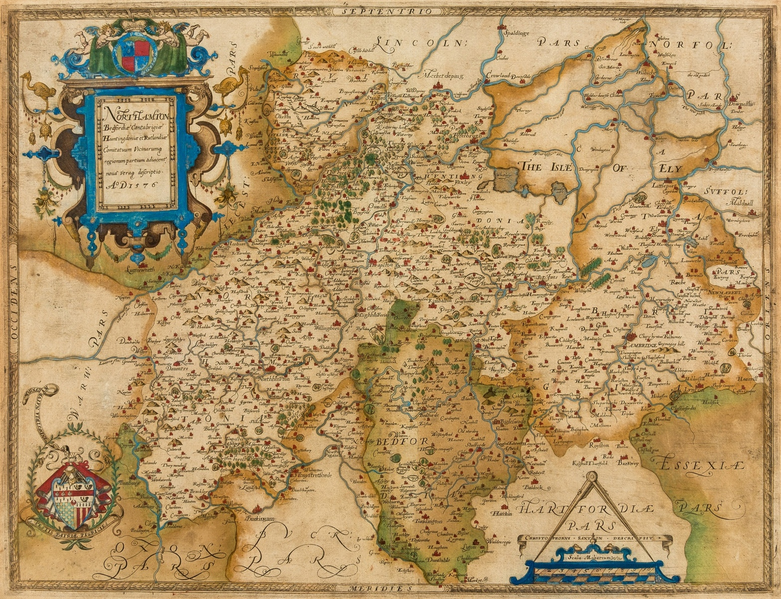 Northampton.- Saxton (Christopher) Northamton Bedfordiae, Cantabrigiae, Huntingdoniae et …