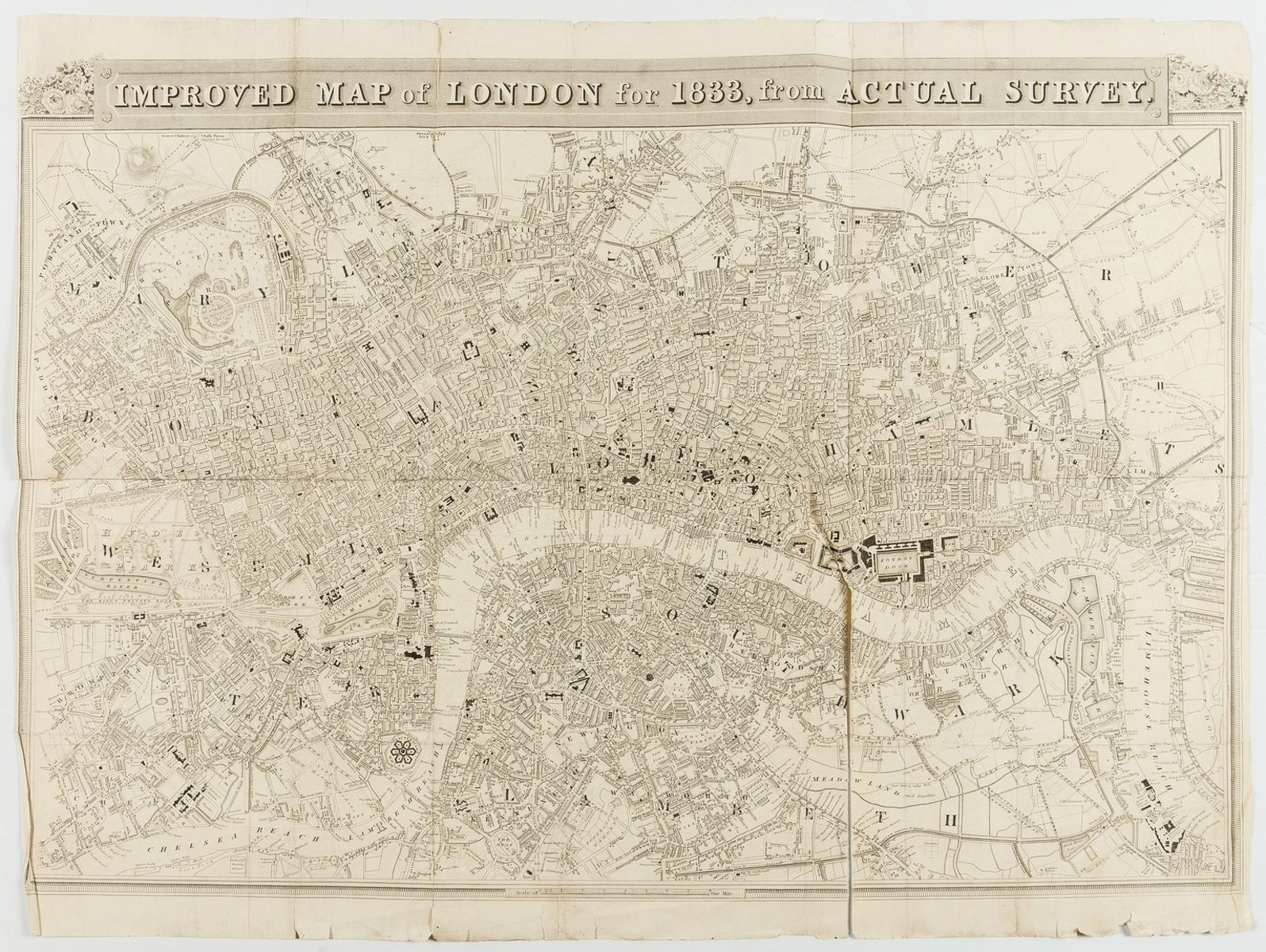 London.- Schmollinger (W.) Improved map of London for 1833, from actual survey, 1833; together …