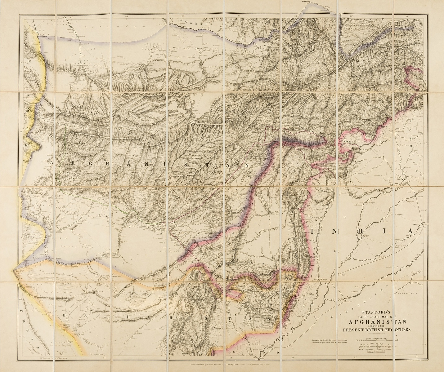 Central Asia.- Stanford (Edward) Stanford's Large Scale Map of Afghanistan showing the Present …