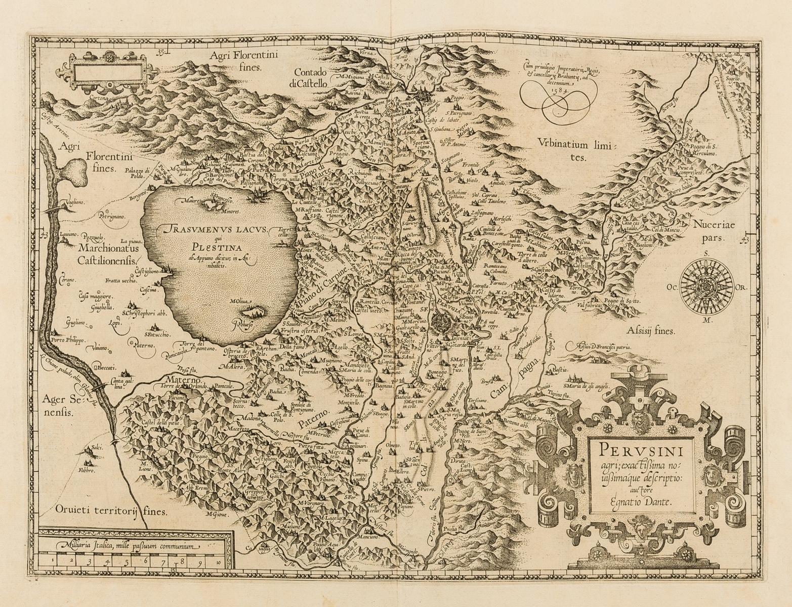 Italy.- Ortelius (Abraham) Perusini agri; exactissima nouissimáque descriptio: auctore Egnatio …