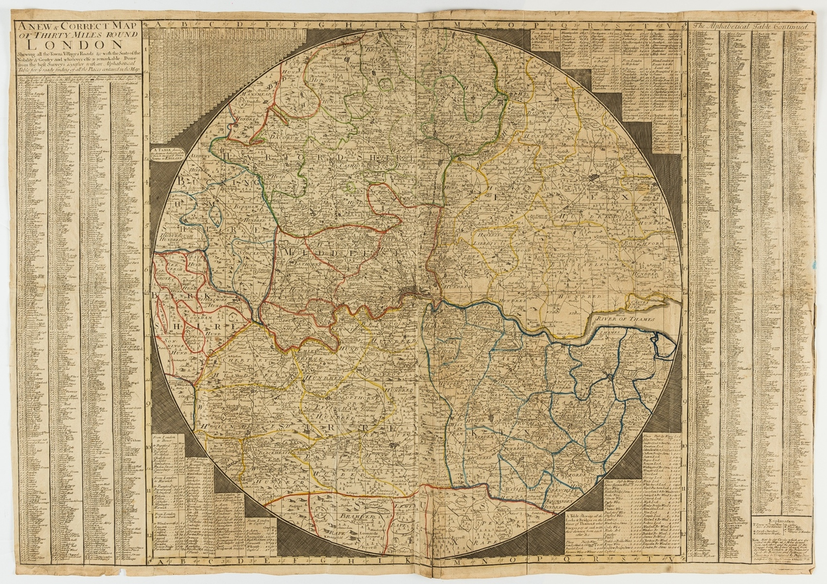 London.- Overton (Henry) A New & Correct Map of Thirty Miles Round London Shewing all the Towns, …