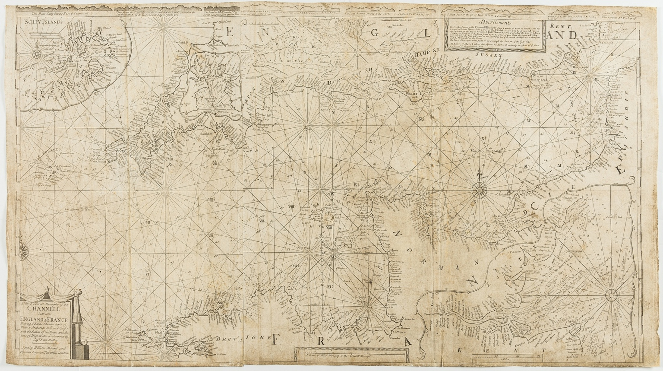 Cornwall.- English Channel.- Mount & T. Page (W.J.) A New & Correct Draught of the Channell …