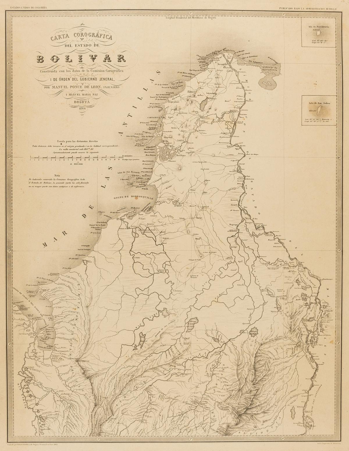South America.- Columbia.- Paz (Manuel Maria) Four maps from 'Atlas geográfico e histórico de la …
