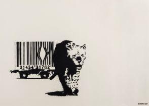 Banksy (b.1974) Barcode (Black stamp)