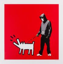 Banksy (b.1974) Choose your weapon (Red) (Signed AP)