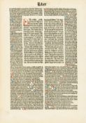 Bible, Latin. Single leaf, double column, gothic letter, 66 lines, rubrics supplied for numerous …