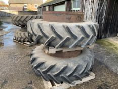 Stocks dual wheels & clamps 16.9R38 50% tread