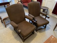 2 brown easy chairs NO VAT