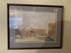 Painting of Towry Farm, Aldbrough by B Middleton, 1990