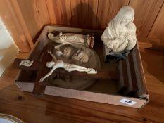 Box of religious ornaments etc