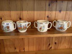 4 Bunnykins mugs