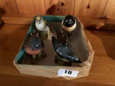 4 bird ornaments