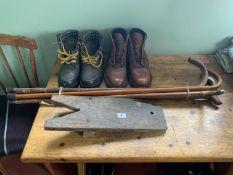 Boot jack, boots & walking sticks