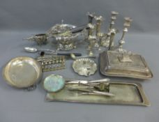 A carton containing a quantity of Epns wares to include a pedestal bowl, candle snuffer, spoons