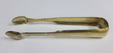 19th century Scottish provincial silver sugar tongs, David Gray, Dumfries, c1825, fiddle pattern