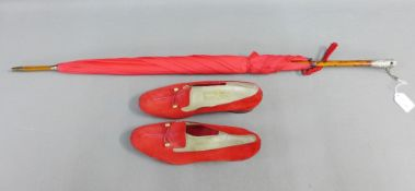 Late 19th century red umbrella with London silver mounts, circa 1895, together with a pair of lady's