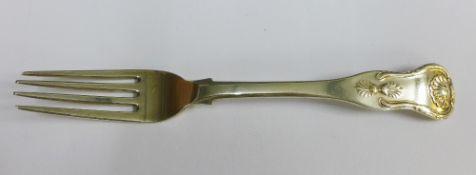 Victorian Scottish silver Queens pattern dessert fork, Robert Naughton, Inverness, single struck,