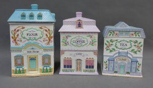 Three Brook & Bentley storage jars for Tea, Coffee and Flour, 24cm high (3)