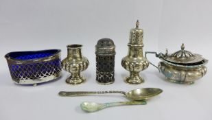 Silver items to include a Walker & Hall, Sheffield silver salt, and other silver condiments, etc (