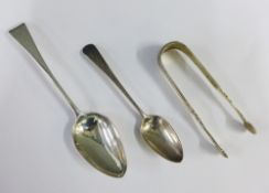 George III silver spoon, London 1798, Old English pattern and another smaller silver spoon, London