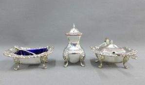 Silver plate on copper three piece condiment set of generous proportions, comprising salt, mustard