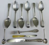 Set of six 19th century silver spoons, fiddle pattern with engraved motto 'Sicker' and fist and