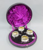 Victorian set of four silver salts, Wakely & Wheeler, London 1891, in original fitted case, with