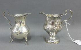 George III silver cream jug, London 1766 together with a William IV silver cream jug, London 1836,