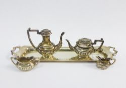 Miniature silver tea and coffee set with a rectangular tray, S.J Rose, Birmingham, 1973 - 1978,