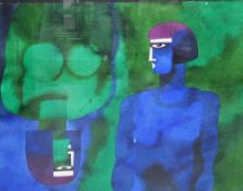 Contemporary School Two Figures, Mixed Media, signed and dated 95, framed under glass, 76 x 56cm