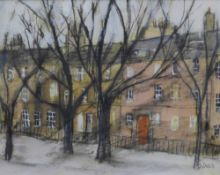 Stephanie Dees, RSW (b.1974) New Town in Winter, Mixed Media, Signed and framed under glass, 18 x