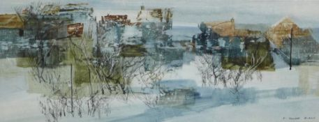 F. Donald Blake, Village in Winter, Mixed Media on Paper, signed, framed under glass 18 x 46cm