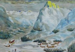 David Carr, In the Alps, watercolour, framed under glass, 37 x 25cm