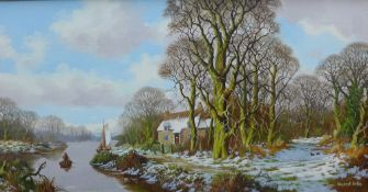 Vincent Selby, Woodland Scene with Cottage and River, oil on canvas, signed, in an ornate gilt