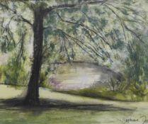 Stephanie Dees, RSW (B.1974) Tree & River, Pastel, framed without glass, 25 x 20cm