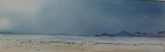 Gerry Goldwyre, Shore Scene, Watercolour,signed and dated 1991, framed under glass, 45 x 15cm