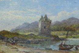 J. Williams, Castle Stalker, Oil, framed under glass, 25 x 17cm