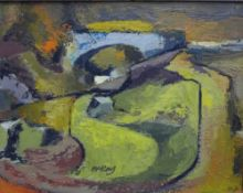 McKay, Abstract Landscape, oil on board, signed and framed, 38 x 29cm