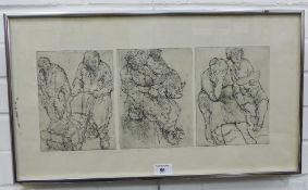 Anda Patterson, Old Woman & Tramp / Park Bench / three etchings contained within a single frame,
