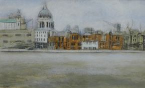 Stephanie Dees, RSW (B.1974) The Thames, Mixed Media, Signed and framed under glass, 26 x 15cm