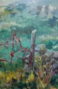 Louise Annand, OBE The Mull Gate, Oil on board, signed and dated 66 top right, with label verso,