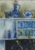 George Gilbert, (SCOTTISH b.1940) Mantel-Piece With Blue Jug, Watercolour, signed and dated '94,