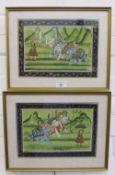 Pair of Indian School gouache, framed under glass, 28 x 20cm (2)